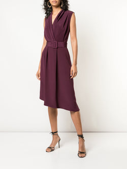 SILK CREPE V-NECK DRESS WITH BELT