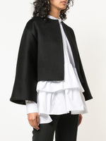 ZIBELLINE CASHMERE CROPPED JACKET WITH PLEATS