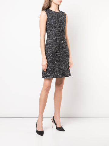 FLORAL HAMMERED SILK DRESS WITH PETER PAN COLLAR AND TIERED HEM