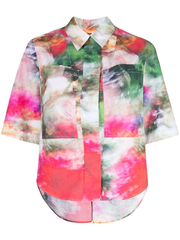 PRINTED POPLIN SAFARI SHIRT