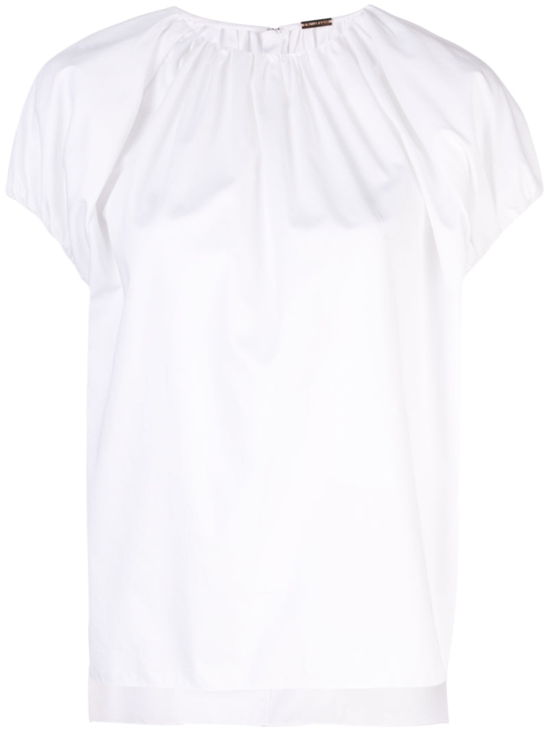 COTTON POPLIN SHIRRED NECK TOP
