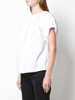 SHIRRED NECK TOP IN COTTON POPLIN
