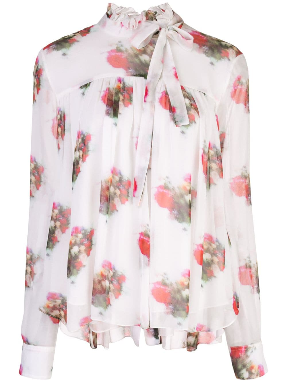 RUFFLE NECK TOP IN PRINTED CHIFFON