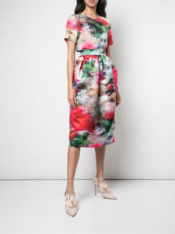 PRINTED DUCHESS SATIN BALL SKIRT