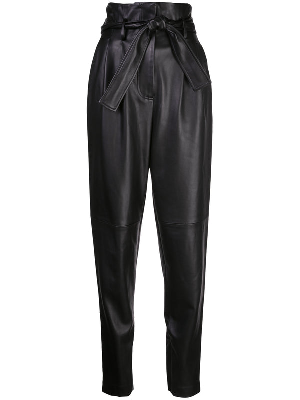 LEATHER TIE-WAIST PANT