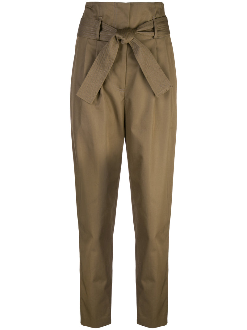 COTTON TWILL TIE-WAIST PANT