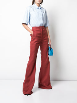 TEXTURED COTTON FLARED PANT