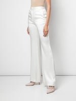 FLARED PANT IN DOUBLE HAMMERED SATIN