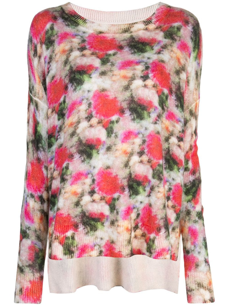BRUSHED CASHMERE FLORAL SWEATER