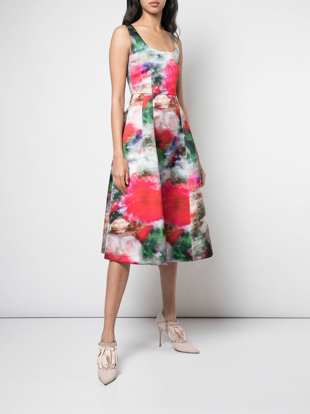 PRINTED DUCHESS SATIN FLUTED DRESS