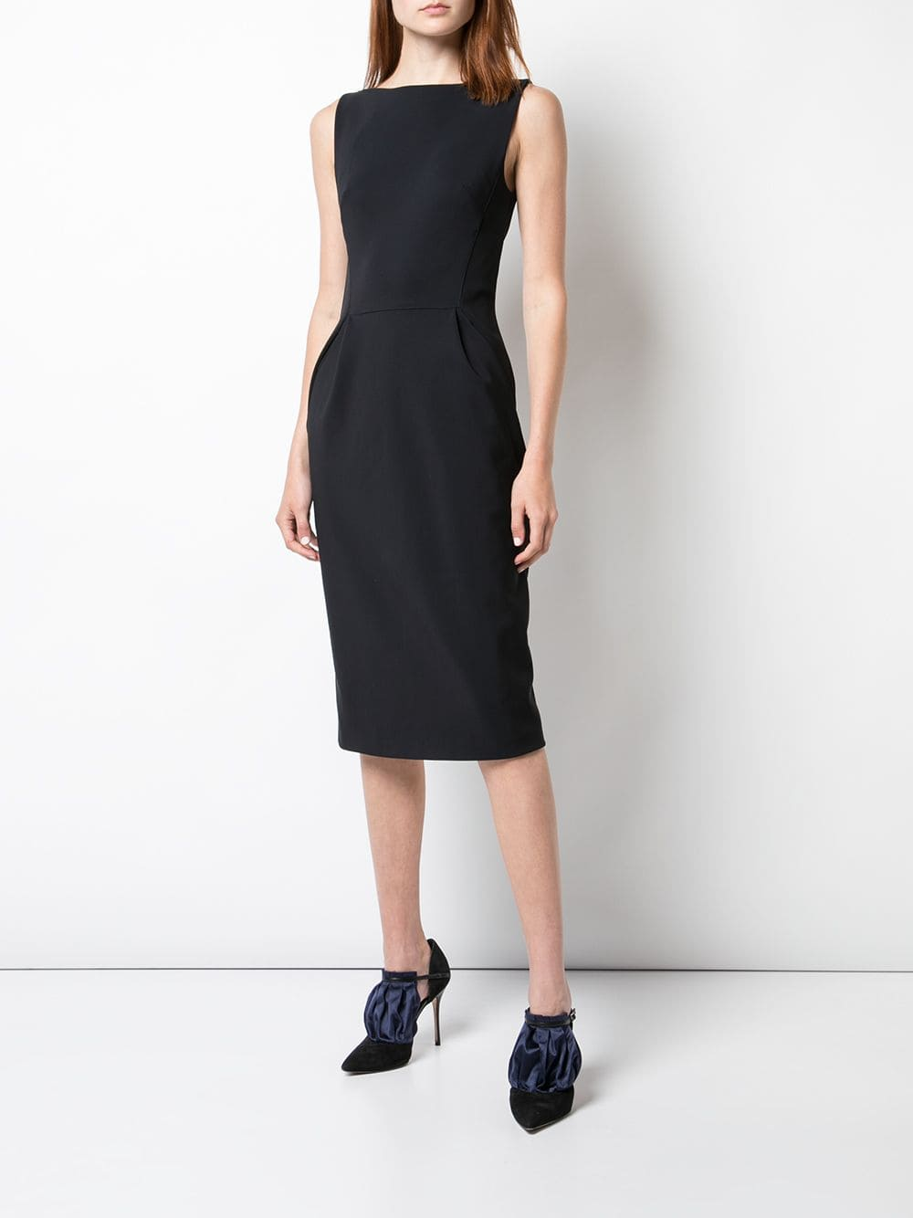 BOATNECK SHEATH DRESS IN BONDED NEOPRENE