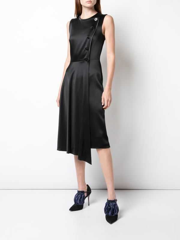DOUBLE HAMMERED SATIN ASYMMETRIC DRESS
