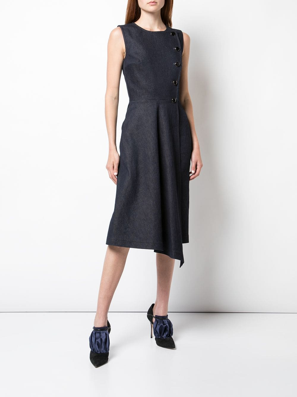 ASYMMETRIC DRESS IN STRETCH DENIM