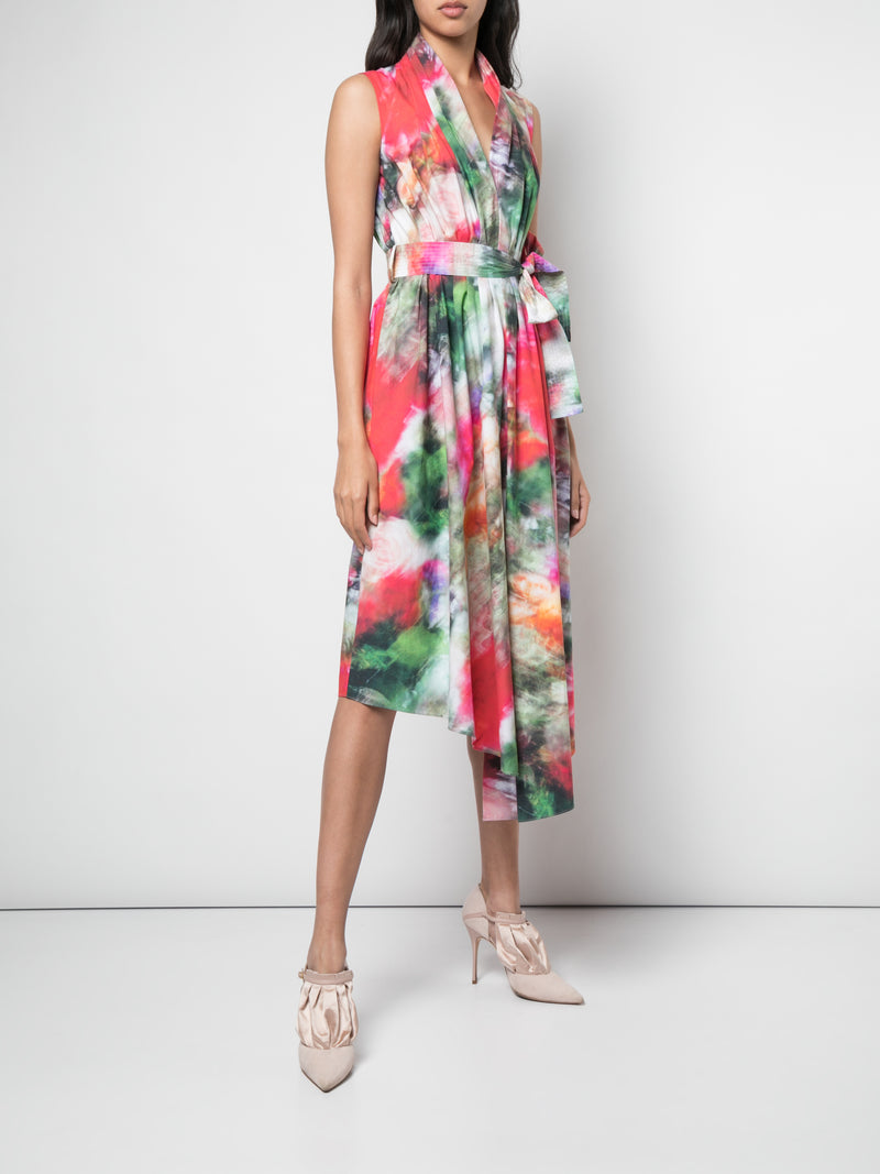 PRINTED POPLIN BELTED ASYMMETRIC DRESS