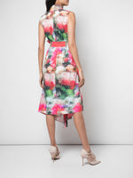 BELTED ASYMMETRIC DRESS IN PRINTED POPLIN