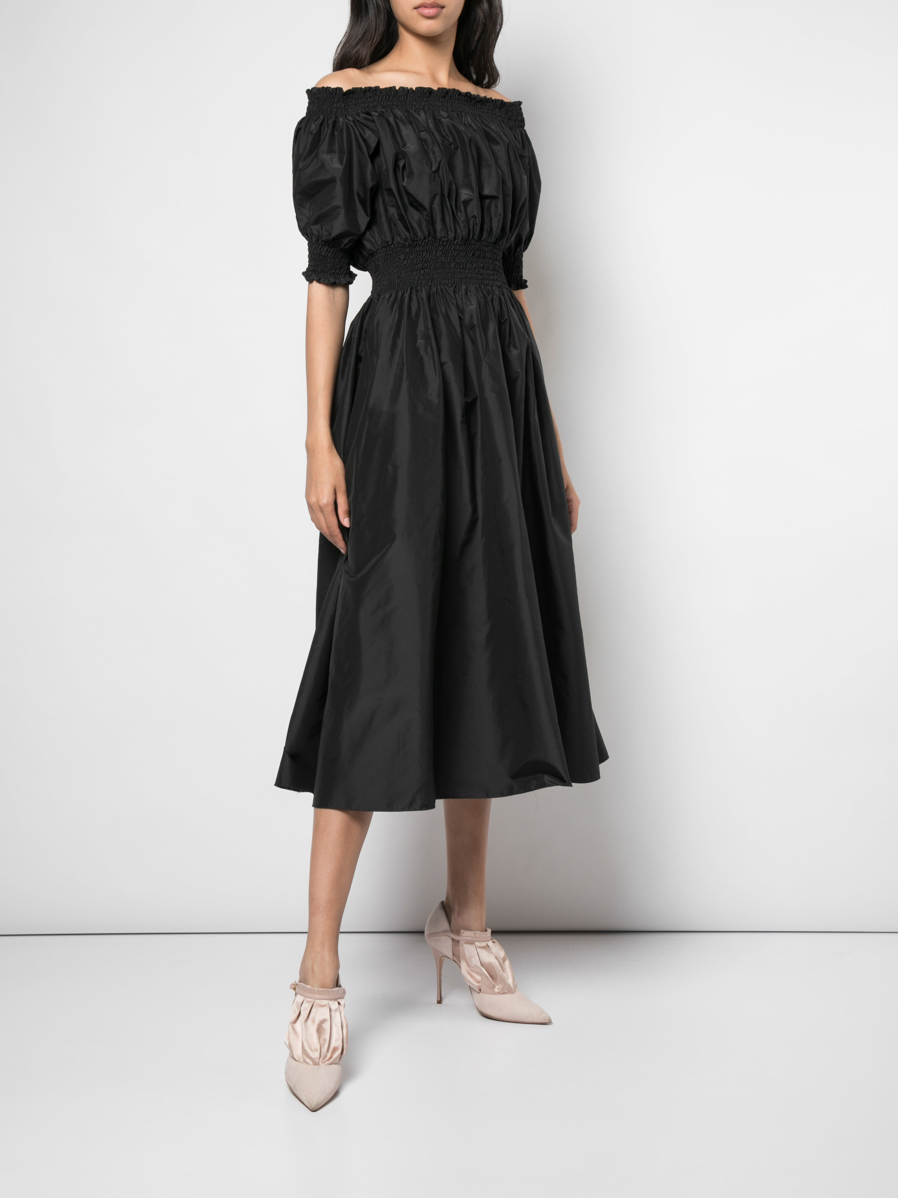 OFF-THE-SHOULDER SMOCKED DRESS IN TAFFETA