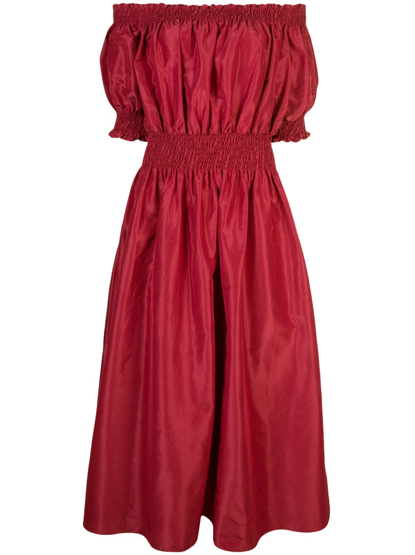 TAFFETA OFF-THE-SHOULDER SMOCKED DRESS