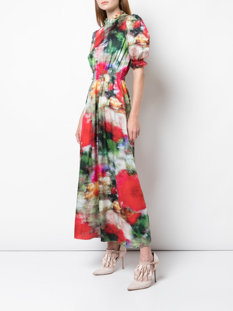 PRINTED HAMMERED SILK SS RUFFLE NECK SMOCKED DRESS