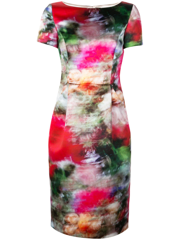 PRINTED DUCHESS SATIN FITTED DRESS