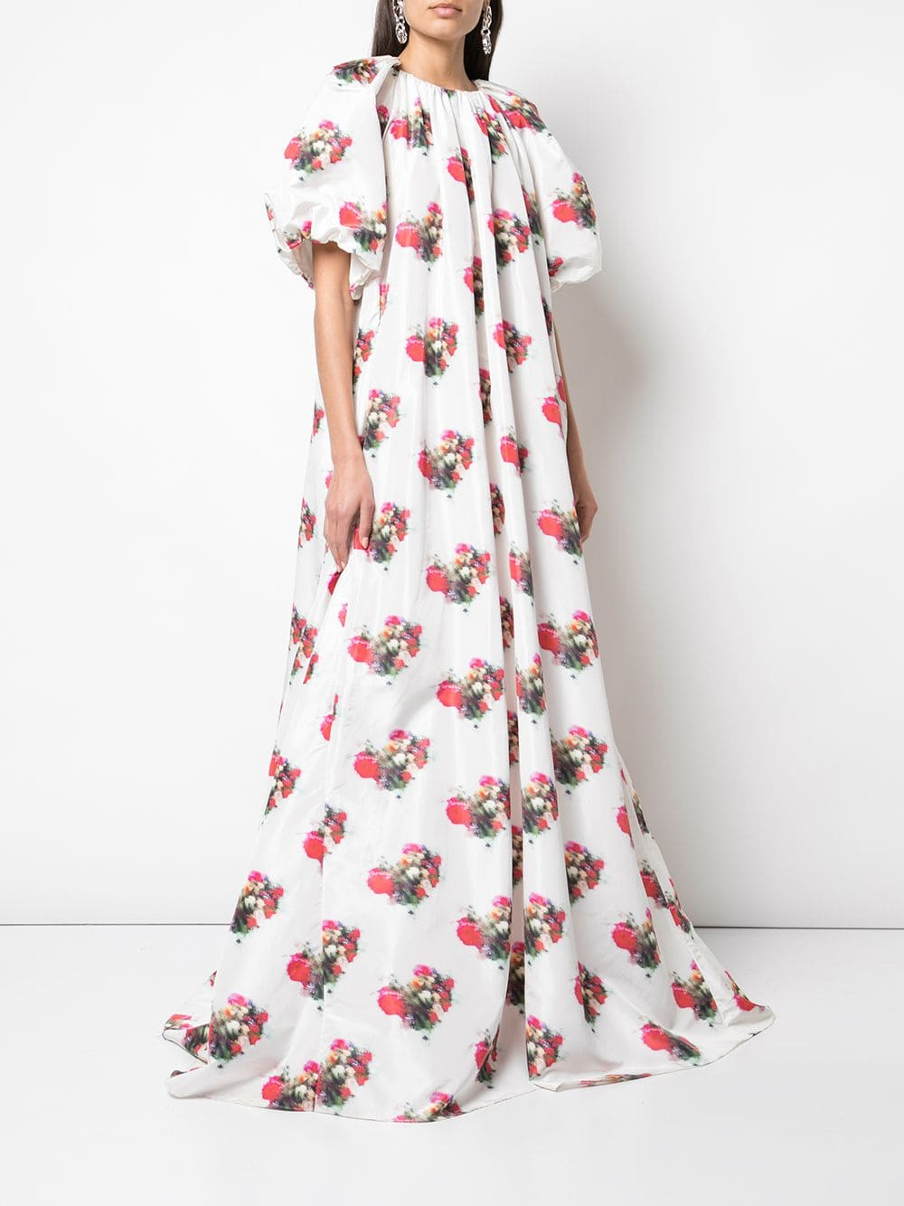 SHIRRED NECK GOWN IN PRINTED TAFFETA
