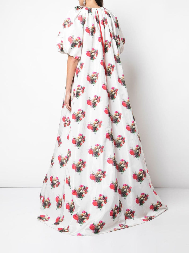 PRINTED TAFFETA SHIRRED NECK GOWN