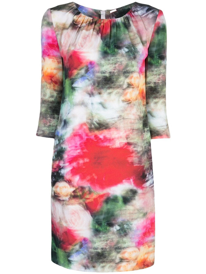 PRINTED SATIN CREPE MINI DRESS