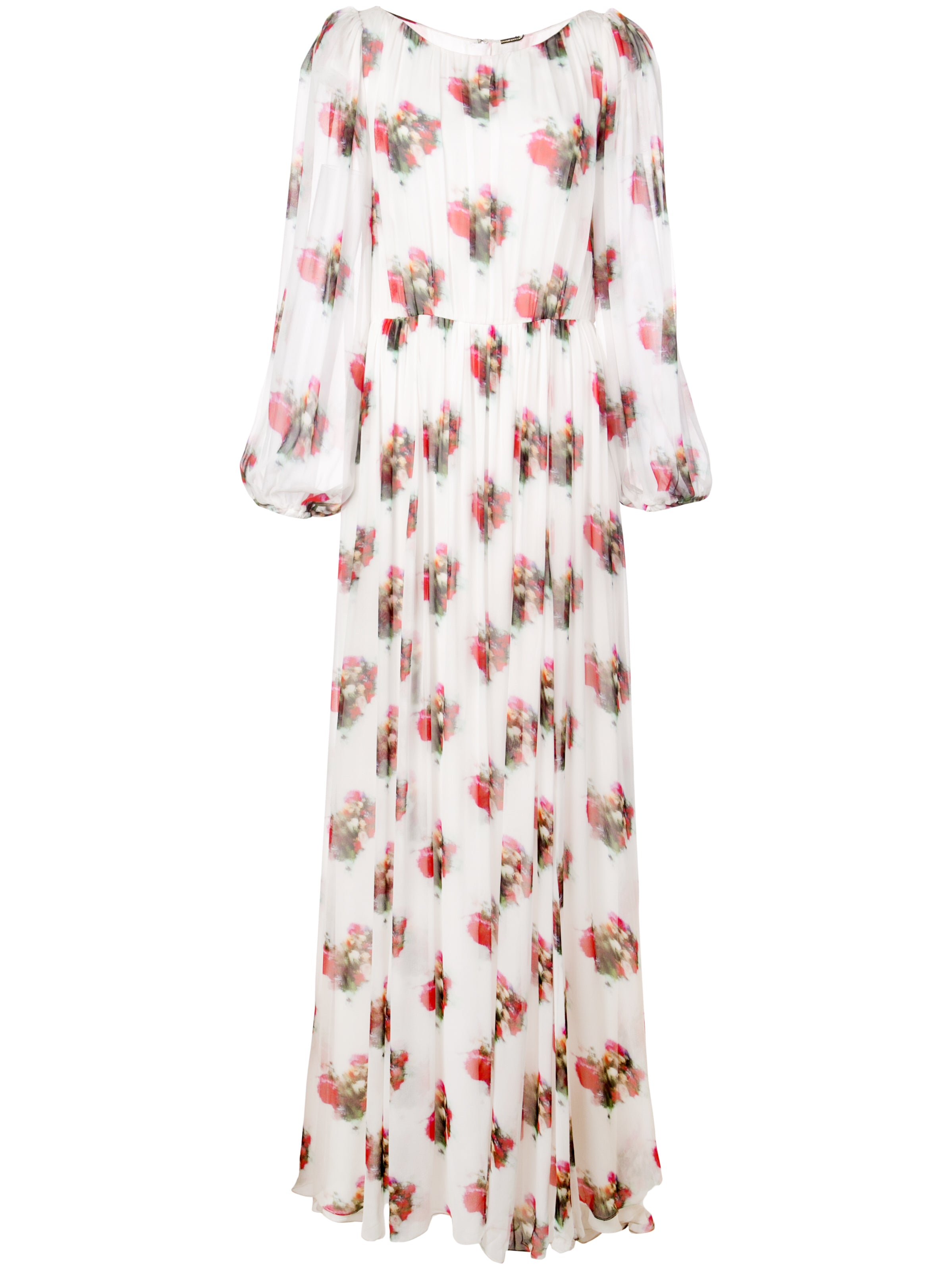 BOATNECK GOWN IN PRINTED CHIFFON