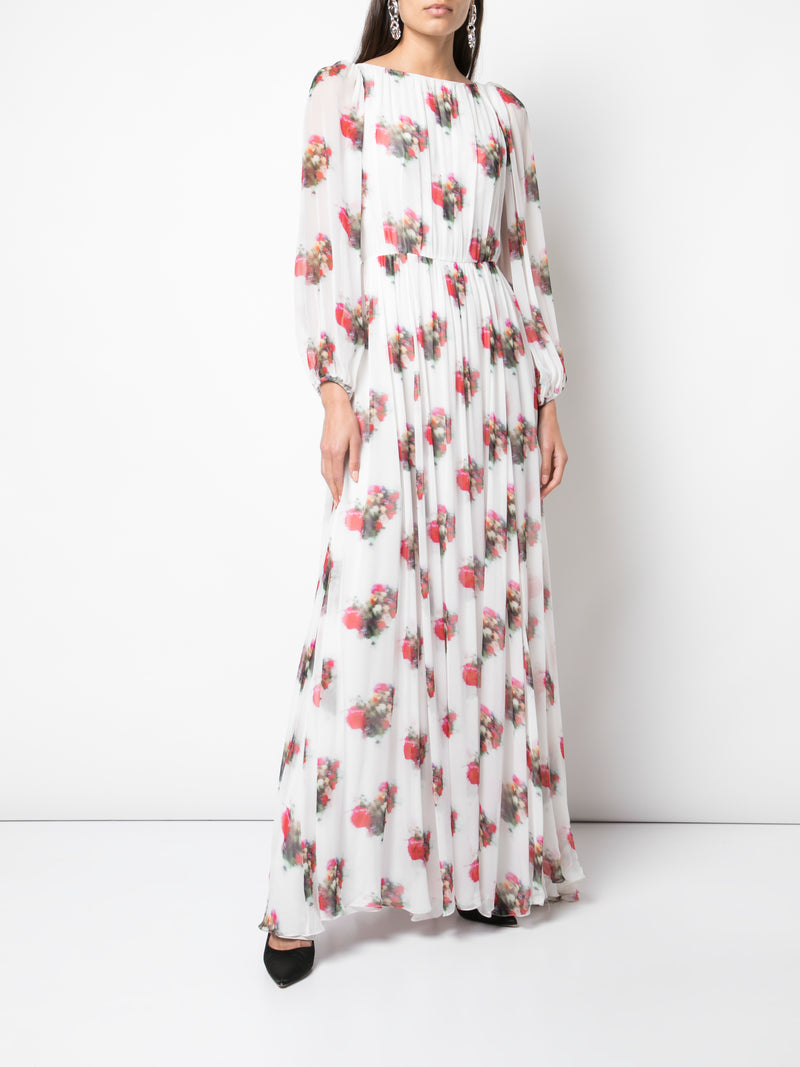 PRINTED CHIFFON BOATNECK GOWN