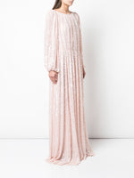 EMBROIDERED BOATNECK GOWN IN SEQUIN