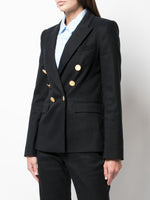 TEXTURED COTTON DOUBLE BREASTED BLAZER