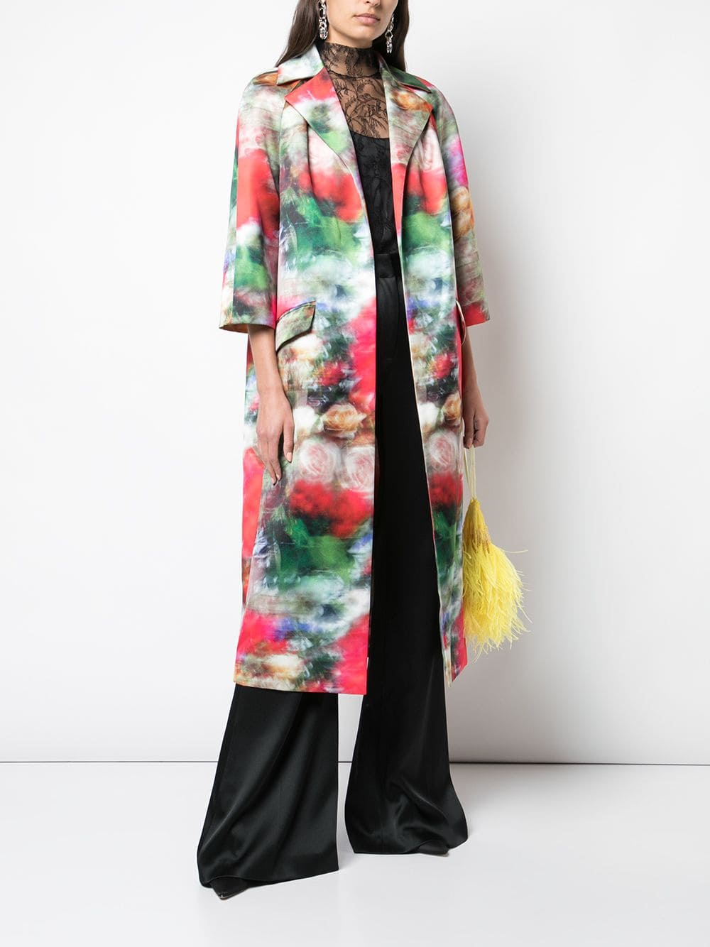 OPERA COAT IN PRINTED DUCHESS SATIN