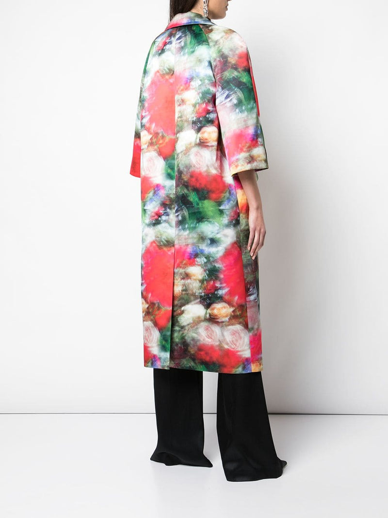 PRINTED DUCHESS SATIN OPERA COAT