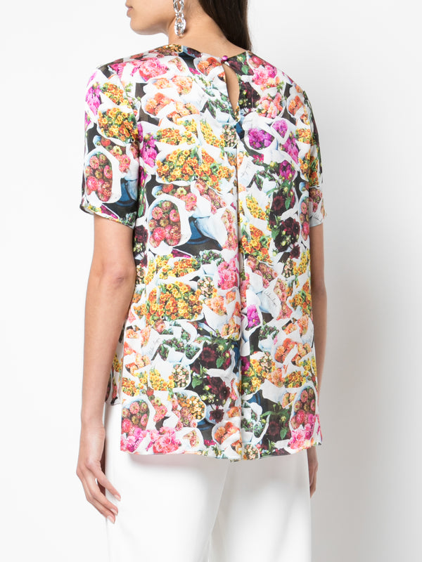 PRINTED SATIN CHIFFON T-SHIRT