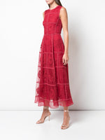 FLUTED DRESS IN HAND EMBROIDERED SILK