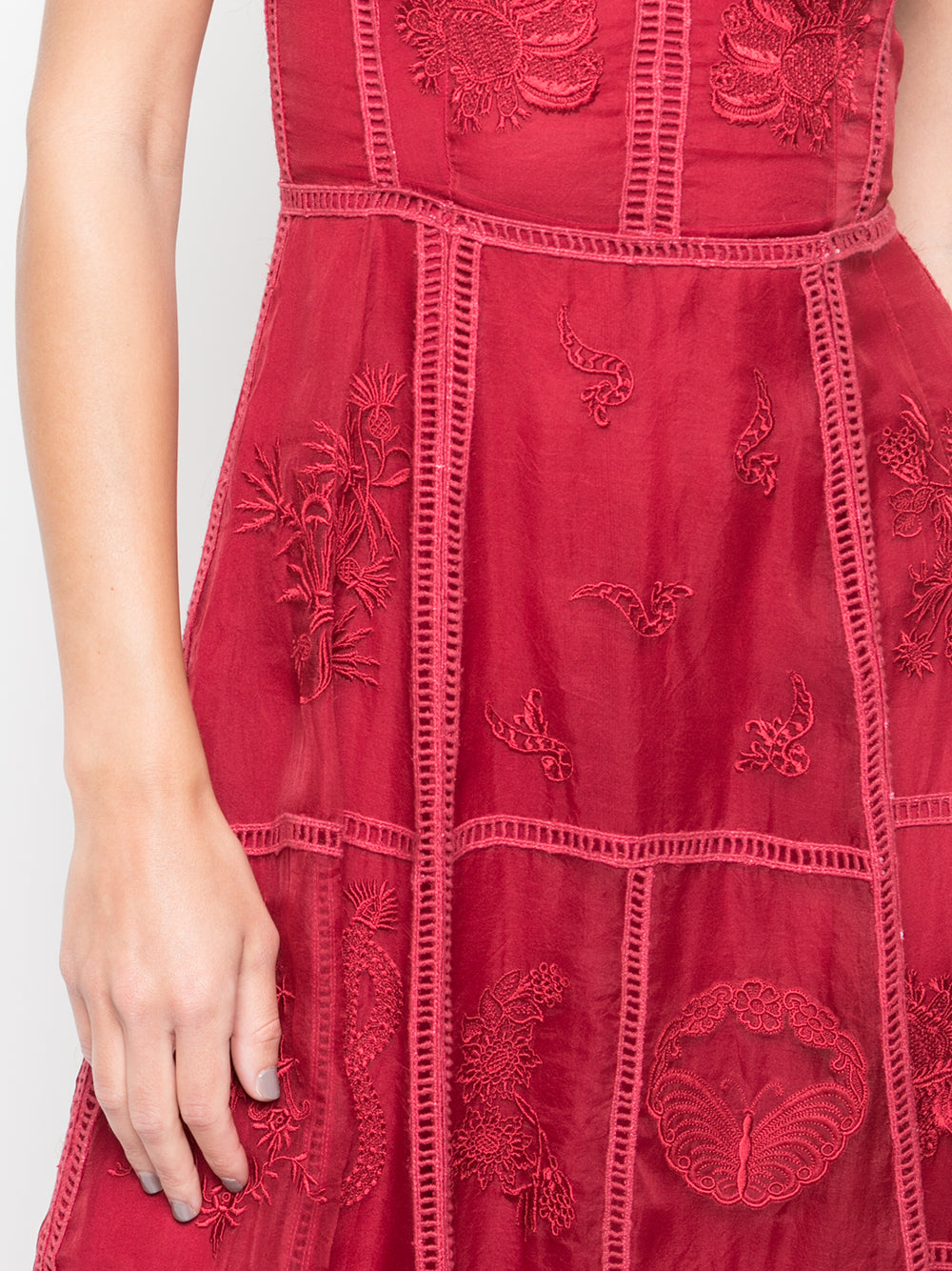 HAND EMBROIDERED FLUTED DRESS