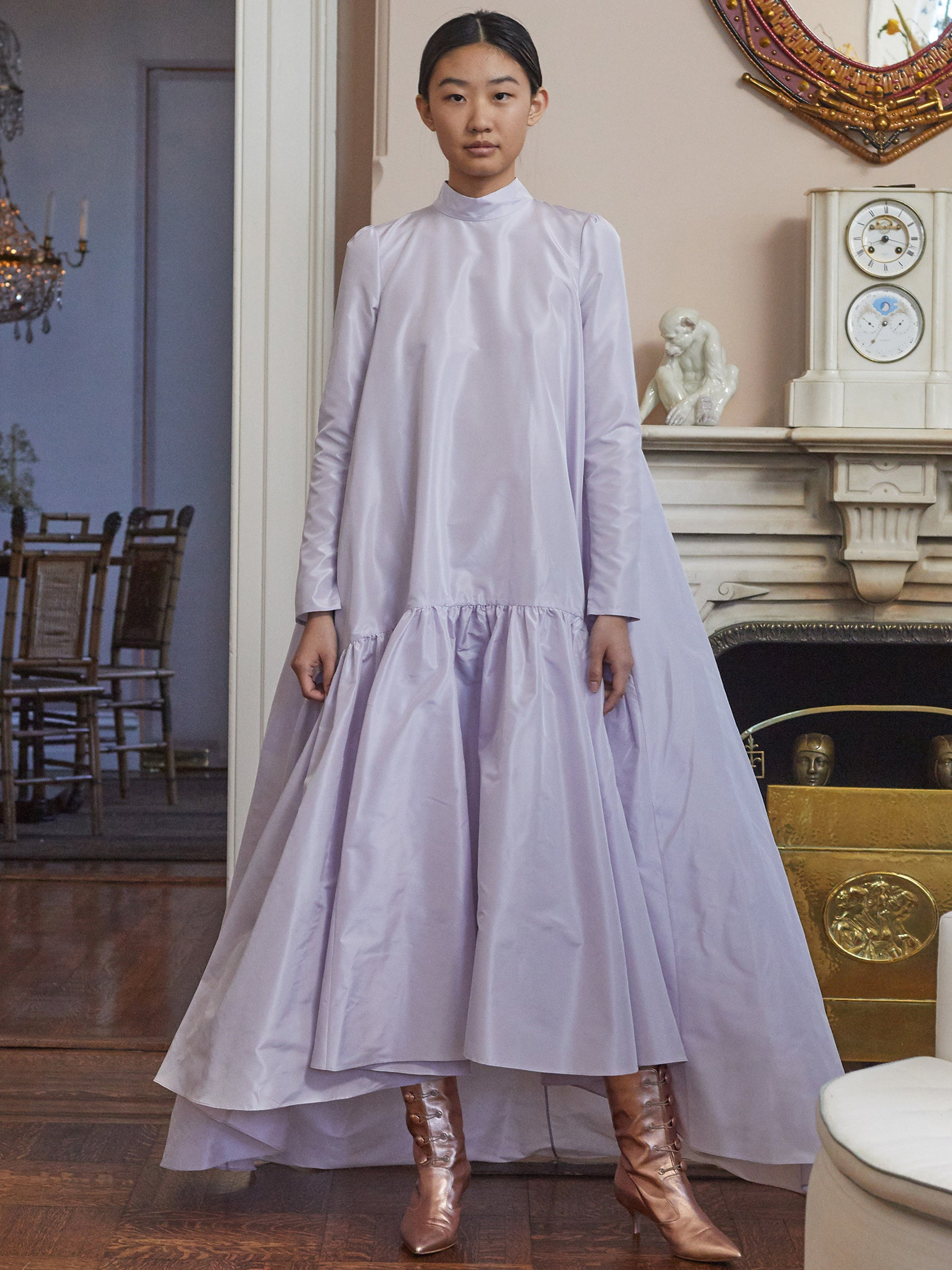 TAFFETA LONG SLEEVE GOWN