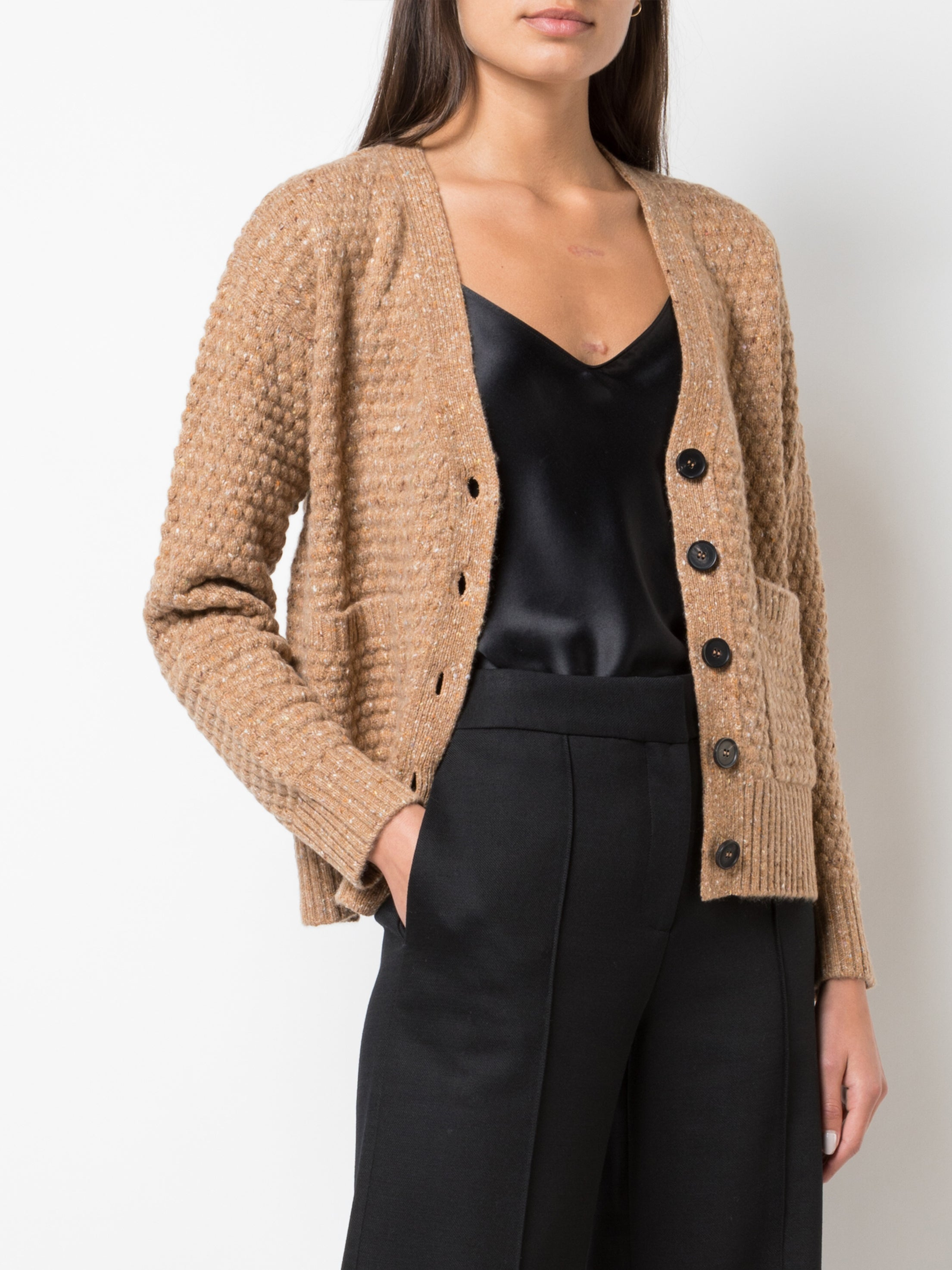 CROPPED CARDIGAN IN MARLED WOOL CASHMERE