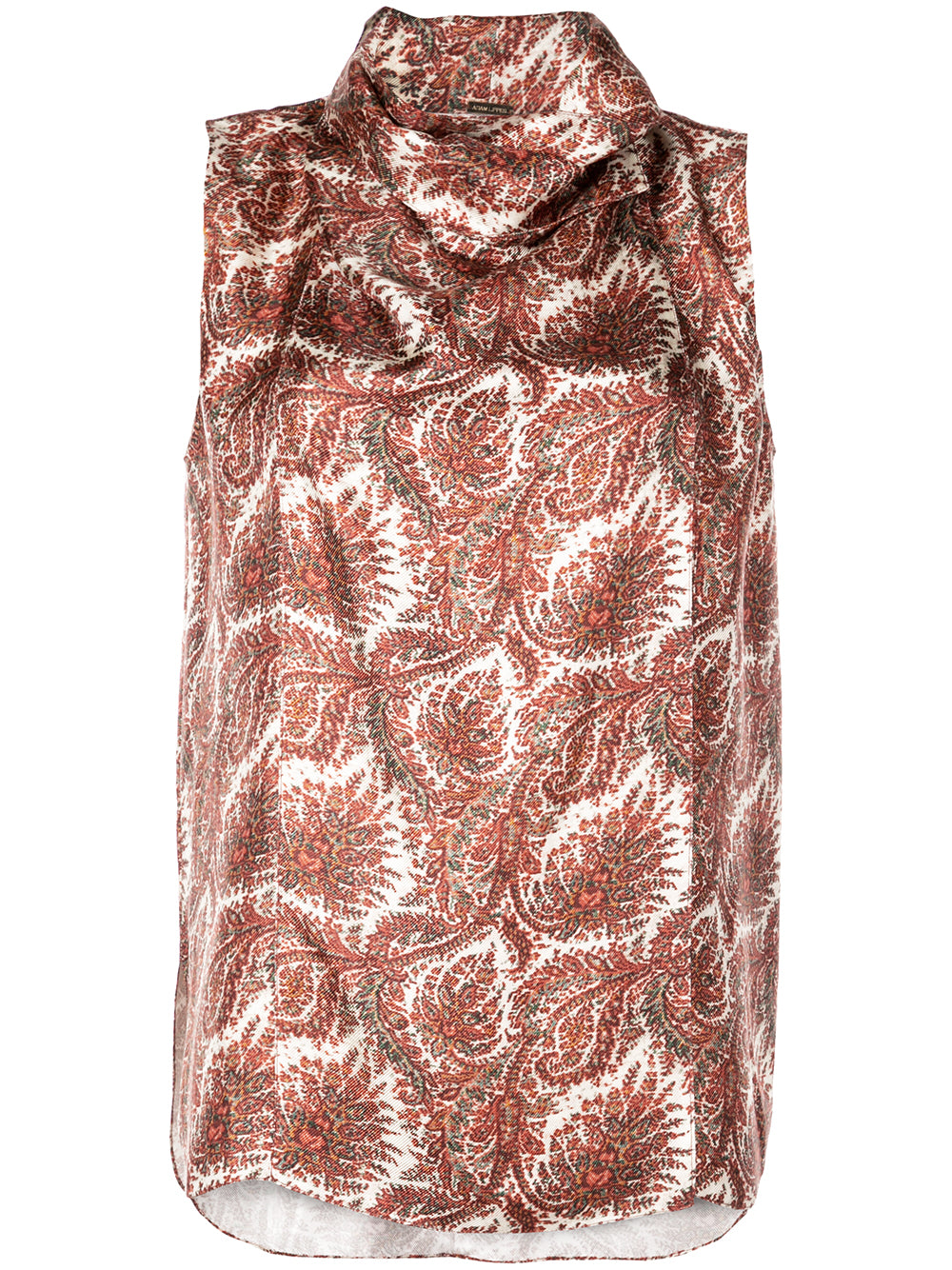 PRINTED SILK TWILL COWL NECK SHELL