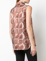 COWL NECK SHELL IN PRINTED SILK TWILL