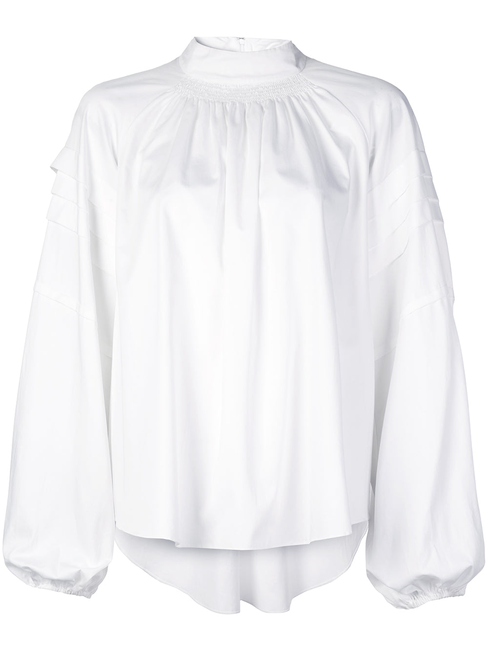 COTTON POPLIN SMOCKED BLOUSE