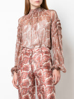 SMOCKED BLOUSE IN PRINTED SILK CHIFFON
