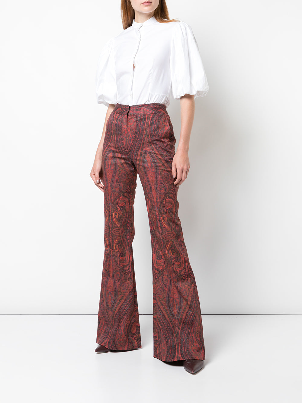 PRINTED COTTON HIGH WAISTED FLARE PANT
