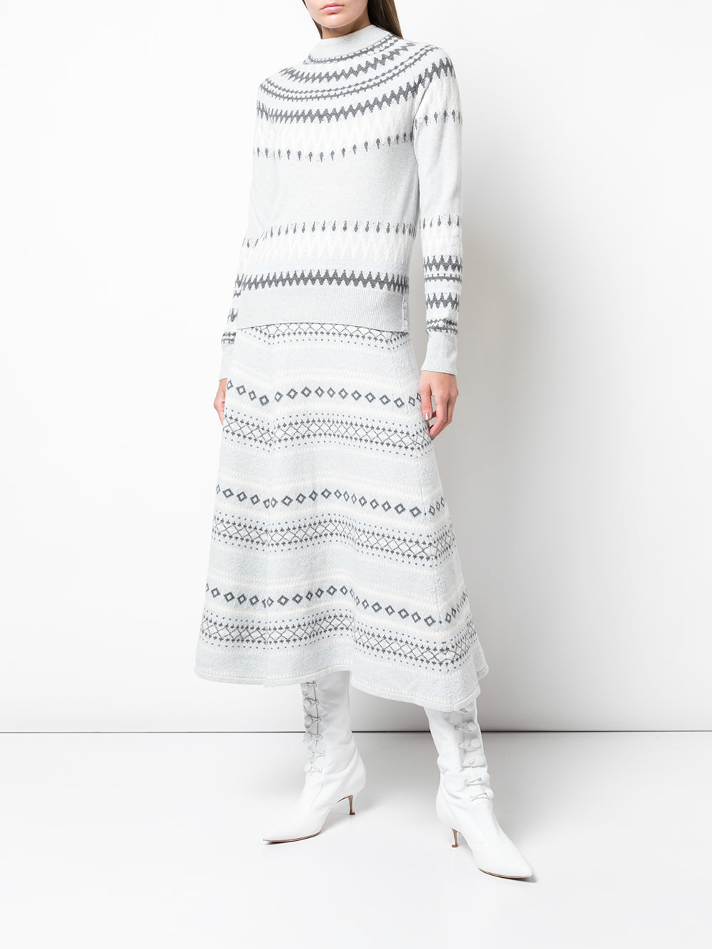 FAIRISLE KNIT MIDI SKIRT IN WOOL CASHMERE