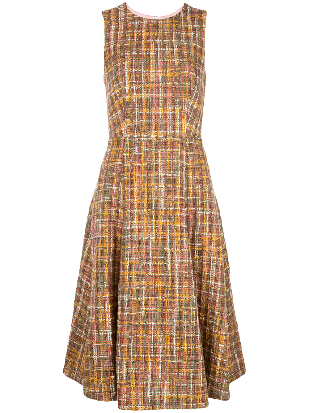 TWEED CREWNECK FLUTED DRESS