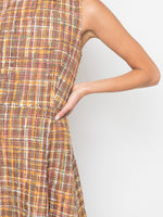 CREWNECK FLUTED DRESS IN TWEED