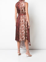 ASYMMETRICAL DRESS IN PRINTED SILK TWILL