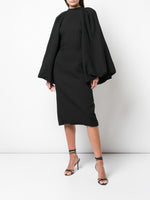 PUFF SLEEVE DRESS IN STRETCH SABLE