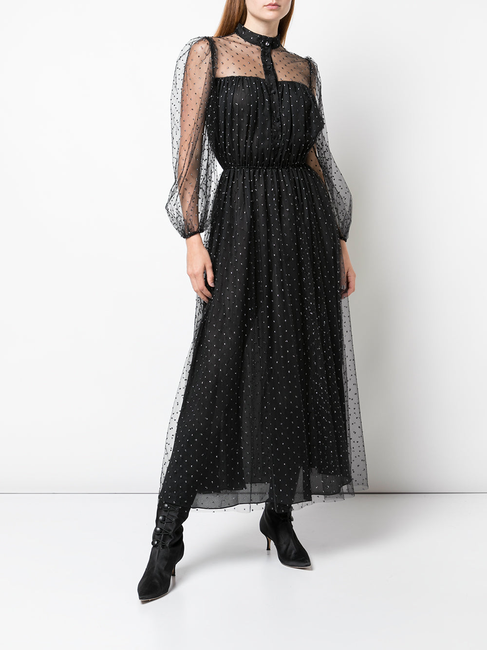 LONG SLEEVE DRESS IN POINT DESPRIT