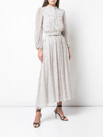 LONG SLEEVE DRESS IN PRINTED CHIFFON
