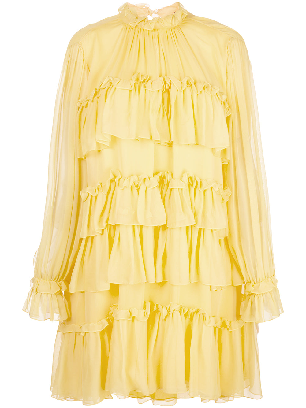 SILK CHIFFON TIERED RUFFLE DRESS